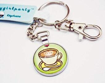 Cappuccino Keychain Coffee Keychain - Wife Gift for wife cappuccino gift coffee gift Sister Gift for sister key chain