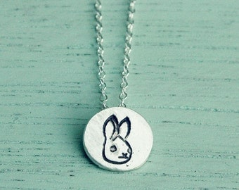 Tiny necklace, BUNNY NECKLACE, tiny animal necklace small silver necklace tiny necklace for girls, little girls gift, girl scout gift
