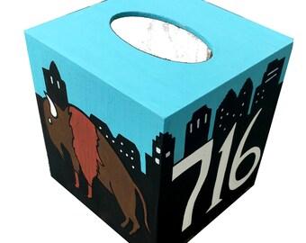 Buffalo NY Tissue Box Holder Hand Painted