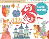 MEDIEVAL TIMES Digital Collage Clipart Instant Download Illustration Princess Dragon Knight Castle Fantasy Fairy Tale Storybook Scarborough
