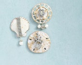 3 Rhinestone Shell Fridge Magnets - real seashells and recycled vintage jewelry refrigerator magnet set