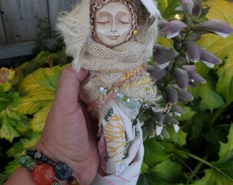 Handcrafted doll on whisk, Kitchen White Witch, Ooak Assemblage Art doll, Shabby Chic Decor