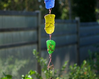 Wind Chime Suncatcher Colorful Glass with Copper Handcrafted
