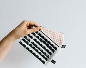 Zip Pouch with leather back, screen printed front.