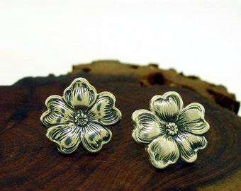 Flower Earrings - sterling silver post earrings, silver stud earrings by Kathryn Riechert