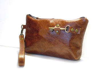 Cognac Leather Zipper Pouch Wristlet with Brass Antique Key Number 10 - Distressed Rust Clutch