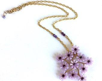 Lavender Purple Flowers Necklace Starburst Cluster Bouquet Lilac Amethyst Rhinestone Swarovski Crystal Gold Chain Handmade Vintage Materials