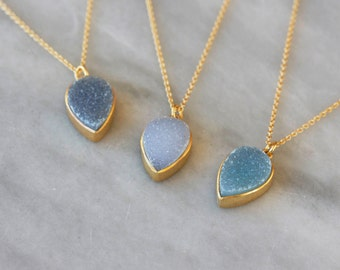 Druzy Teardrop Necklace, Gold Pendant, Your Choice Colorful Drusy, Pastel Color, 14k Gold Fill Chain, Sparkly Necklace, Layering Jewelry