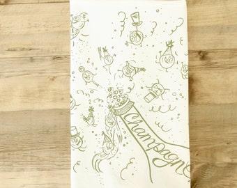 Champagne tea towel  Bubbles Celebration New Years Eve Party Tea Towel Celebration Gala Black tie champagne Dish Towel