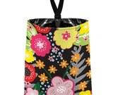 Car Trash Bag // Auto Trash Bag // Car Accessories // Car Litter Bag Car Garbage Bag - Floral Burst Black Car Organizer Flower Blooms