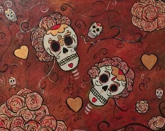Sugar skulls and roses.
