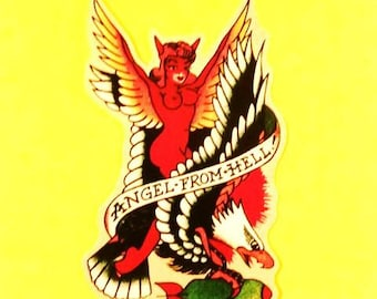 Angel From Hell Old School Tattoo Pinup Girl and Bomb Rockabilly Sailor Jerry Style Vinyl Sticker