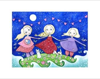 Three sisters folk art print A3 womens wall art tree blonde girls 3 daughters nursery decor whimsical kids room art Three of cups tarot art