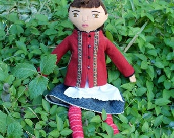 Folktale Girl doll dirndl dress wool softie