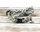 Grey and Cream Chevron Cat Collar with Matching Bow/Bow Tie