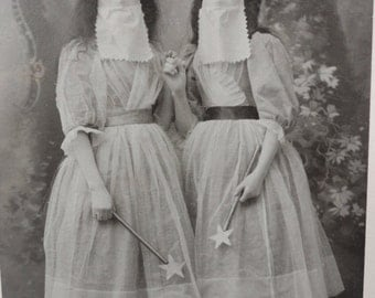 2 Cabinet Cards Featuring Costumed Women With Wands and Bizarre Masks