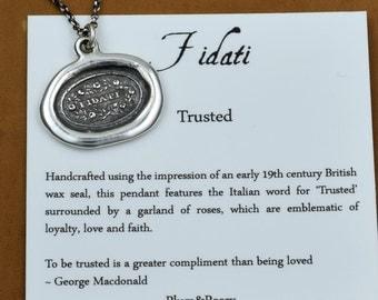 Trusted Wax Seal necklace in Italian - Fidati - Trust necklace - 109
