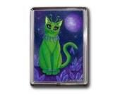 Alien Cat Magnet Space Cat Purple Crystals Fantasy Cat Art Framed Magnet Cat Lovers Gifts