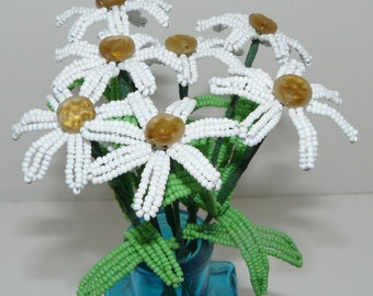 French Beaded Flowers Daisies in Blue Vase