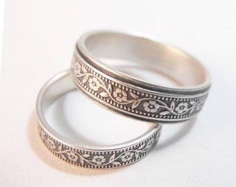 Wedding Band Set - Wedding Ring Set - Women's Wedding Ring - Men's Wedding Ring - Petunia Floral Sterling Silver Ring - Handmade Ring