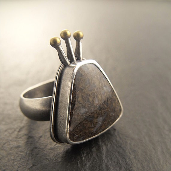 Ring - Sea Monkey Statement Ring - Handmade in Seattle - One of a Kind OOAK - Size 8.75