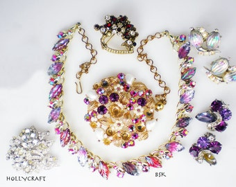 Vintage Rhinestone Jewelry Repurpose Harvest Hollycraft BSK Purple Pink Red Molded Glass Leaves Necklace Earrings Brooch Pins