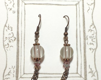 Antique Style Lampwork Earrings, Dangle Earrings, Long Earrings, Purple Earrings, Antique Copper Earrings, Christmas Gift, Birthday Gift