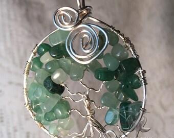 Green Aventurine Tree of Life Gemstone Pendant
