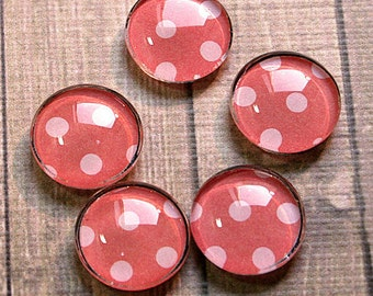 Set of Five Pretty Dark Pink Polka-Dots Glass Cabochon Magnets - 1 inch Diameter
