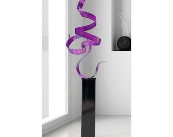 Modern Metal Sculpture in Purple, Indoor Outdoor Abstract Metal Decor, Large Garden Statue Art - Purple Perfect Moment 24 by Jon Allen