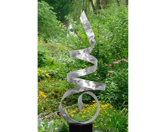 Large Silver Modern Metal Garden Sculpture - Abstract Metal Yard Art - Handmade Accent Indoor-outdoor Twist Decor - Sea Breeze by Jon Allen