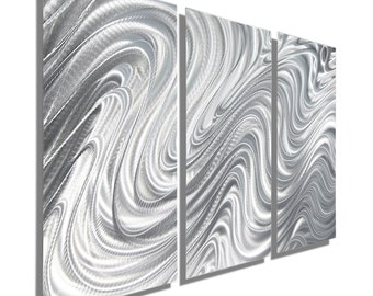 Abstract Metal Wall Sculpture in Silver, Decorative Metal Wall Art, Contemporary Metal Wall Decor, Set of 3 - Hypnotic Sands 3p by Jon Allen