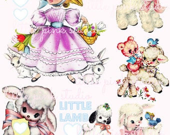 Mary's little lambs, DIGITAL collage sheet, instant download, printable collage sheet