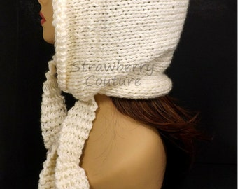 Ivory Knitted Hat Womens Hat Trendy, Knit Ivory Hat, Ear Flap Hat, Oversized Knitting, DESERT Knit Hood