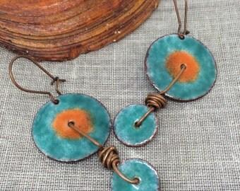 Artisan Enamel Glass Earrings in Teal and Orange, Colorful Torch Fired Enamel, Sttement Earrings, Artisan Jewelry
