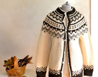 Vintage Icelandic Wool Sweater Coat Hand Knit Cardigan Large Size Natural Color Shades