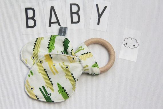 Ear bunny teether ring - crocodiles - aligators - fun - green - yellow - bamboo terry cloth - baby gift - baby shower - birthday - baby boy
