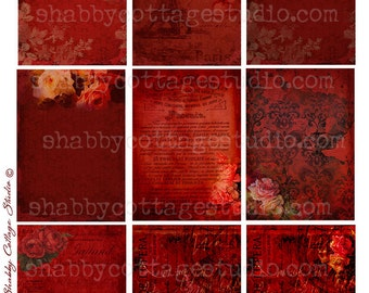 ATC Backgrounds - Romantic Red - Instant Download - Digital Download - Tags - Gift Tags - Hang Tags - Printable Images - Collage Sheet
