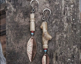 E130+131 asymmetrical handcarved wood + copper earrings