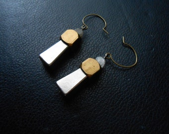 stoic - mixed metal totem earrings silver brass and labrodorite minimal geometric earrings
