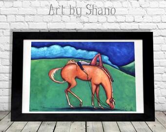Horse Art Print, Equestrian Lovers Gift Idea, Modern Girls Room, Western Farmhouse Decor, Palomino Chestnut, Quarter Arabian Stallion, Shano