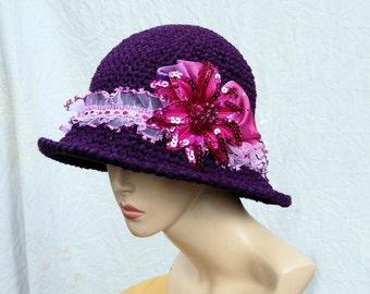 Purple hat for women cloche bucket wide brim hat womens fedora dressy unique  hat couture hat millinery crochet hat amethyst plum  hat
