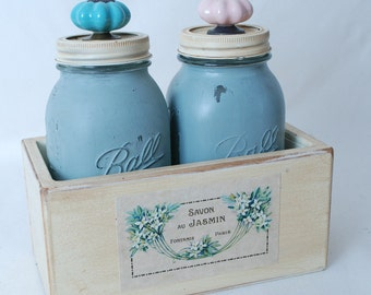 Mason Jar Storage Box Vintage Style with 2 Quart Jars