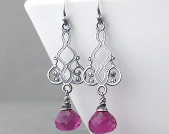 Pink Dangle Earrings Sterling Silver Earrings Silver Drop Earrings Long Dangle Earrings Handmade Jewelry Bohemian Jewelry Moroccan Dreams