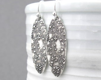 Dangle Silver Earrings Long Oval Earrings Floral Jewelry Sterling Silver Earrings Rustic Jewelry Bohemian Jewelry Silver Jewelry - Elena