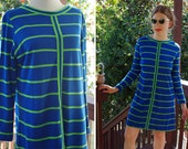OCEAN Breeze 1960's Vintage Bright Blue + Lime Green Striped Shift Dress w/ Long Sleeves // size Medium // by Patty WOODARD of California
