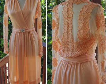 Pretty PEACH 1970's Vintage Sheer Back Embroidered Dress with Long Sleeves + Rhinestone Belt // by Felix Arbeo for I.MAGNIN // size Small
