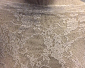 Floral Stretch  Lace Fabric  1 Yard