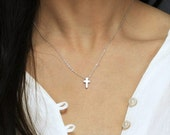 Tiny Silver Cross Necklace - Minimal Cross Jewelry - Religious Necklace - Perfect for Layering - Gold Cross Necklace - Hotmixcold jewelry