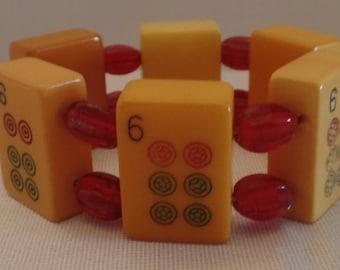 Vintage Bakelite Marjong Tile Bracelet-Free Shipping